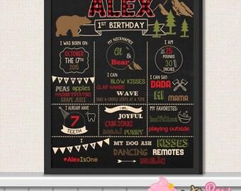 Lumberjack First Birthday Chalkboard Sign - 1st Birthday Printable Sign - Lumberjack birthday party chalkboard sign