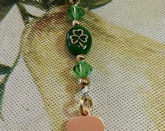 Slainte Irish Shamrock Key Ring plain or with bead and Swarovski Crystals Copper or Nickel Silver