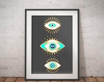 Evil eye gold foil print, geometric bohemian poster, black and gold wall art, evil eye, Spiritual Art, printable instant download, 18 x 24