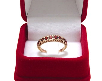 Garnet Ring | 14K Gold Gemstone Ring | Vintage Garnet Ring | 14K Solid rose gold ring | Vintage Ring | Eternity Ring, January birthstone