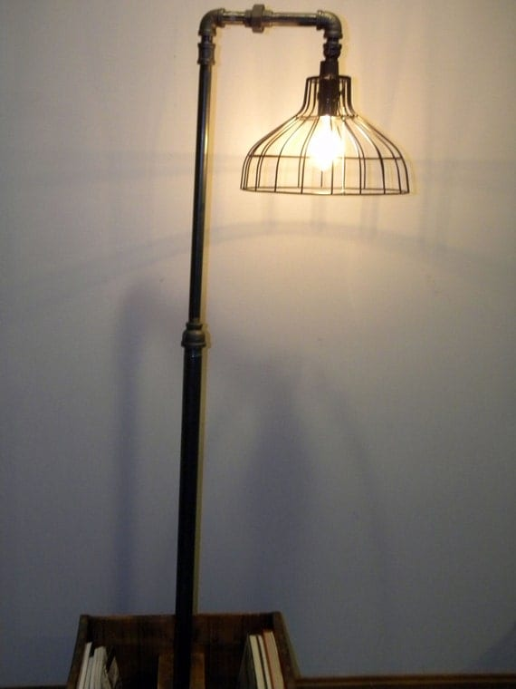 industrial floor lamp with vintage magazine book rack base. Black Bedroom Furniture Sets. Home Design Ideas
