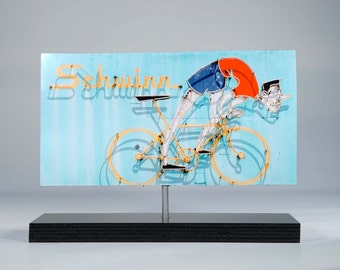 Schwinn Bike neon sign photo / bicycle art / vintage neon sign / bike photo / retro sign / mid century modern / bike racing sign / schwinn