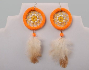 Orange Earrings - Amber Dream Cather Earring - Yellow Dreamcacther Earrings - Tribal Native American Jewelry - Gypsy Hippie Boho Accessories