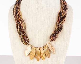 Bronze Braided Bead Necklace and Bracelet Set