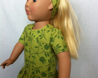American Girl Doll Clothes - Green dropped waist dress