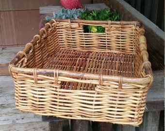 "Large Vintage Basket Tray 19'X16"" Large Rectangular Basket Storage Rustic Wicker Tray Basket Retro Ottoman Tray Farmhouse Country Cottage"