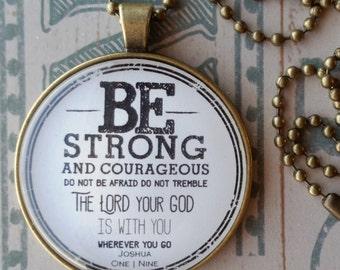Necklace-Be Strong-Gospel-Handmade