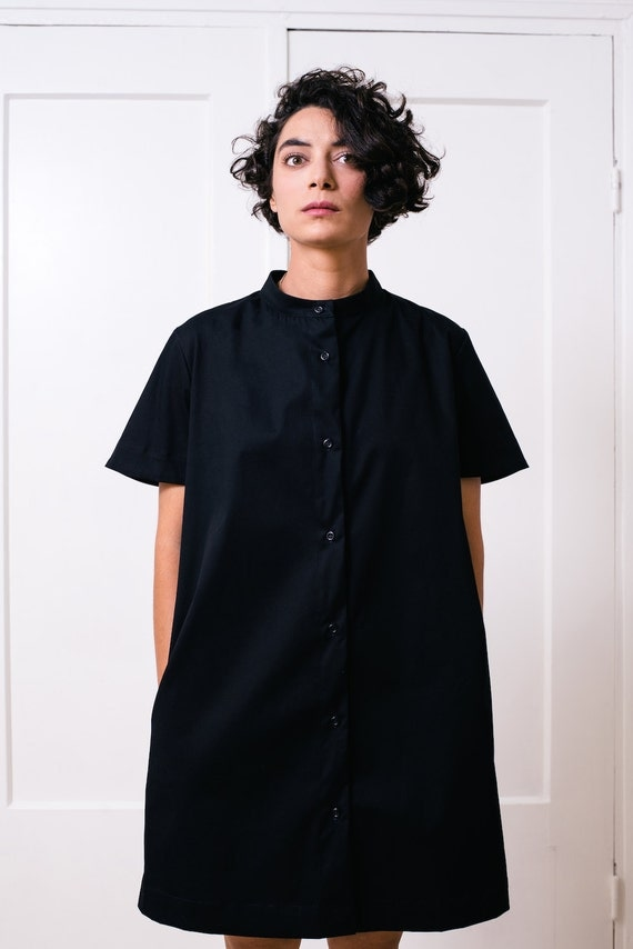 Button Down Black Cotton Shirt Dress With Short Sleeves Side