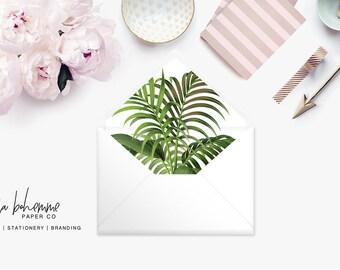 Printable Envelope Liner  | Botanical Envelope Liner | Envelope Liner Template - Tropical Foliage