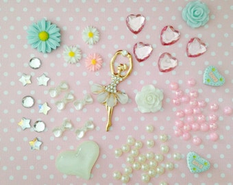 78pc Pretty Pastel Assorted Cabochon Decoden Kit #4 Flatback Pearl Resin Deco Scrapbook Craft DIY