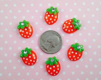6pc Red Strawberry 17mm Kawaii Resin Flatback Cabochons Scrapbook Decoden Craft DIY