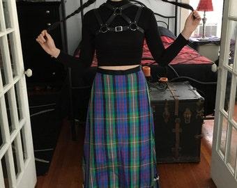 Cute Vintage Plaid Prairie Maxi Skirt 1970s