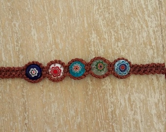 Handmade Peruvian Macrame Bracelet with Millefiori Beads