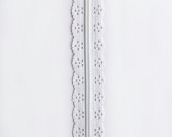 "White Lace Zipper - White Zippers - Lace Zippers - 8"" Zippers - YKK Zippers - Bag Notions - Purse Notions - Sewing Notions - Bag Zippers"
