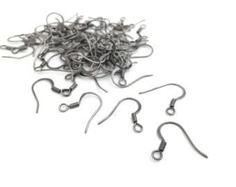 50 Antique Silver Earwire Fish Hook, French Earwire, Ear Hook, DIY Earring, Wholesale, MF0033