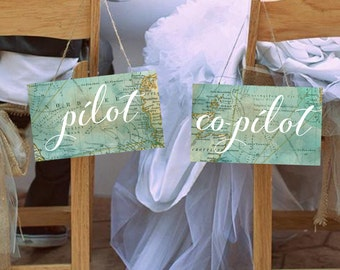 """Cute """"Pilot & Co-Pilot"""" Wedding Chair Signs, Set of 2, Travel Theme, Instant Download! **Printable Items**"""