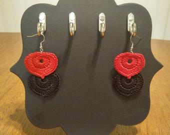 Black & Red Petal Crocheted Earrings