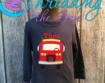 Fire Truck Birthday Shirt, Firetruck Birthday Shirt, Boys Birthday Shirt, Firetruck Birthday