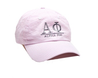 AP  Alpha Phi Sorority Seersucker Line Baseball Hat.