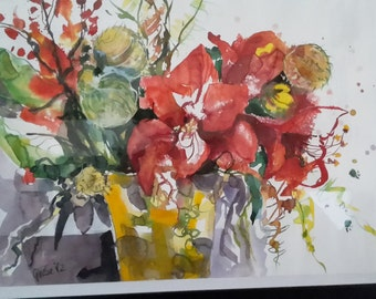 AMARYLLIS watercolor on 300 g Fabriano paper without frame