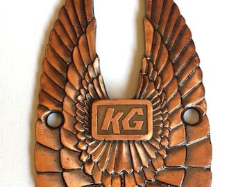 Vintage Copper Wing Emblem, Motorcycle Wing Emblem, KG, Wing Badge, Emblem Ornaments