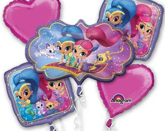 Shimmer & Shine – Bouquet Of Mylar Balloons - 5 Foil Balloon Bouquet - Genies-in-training