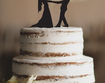 NEW!! SILHOUETTE dancing couple Cake Topper - wedding cake topper- dreamed wedding-wedding decoration- love cake topper- Choose your color
