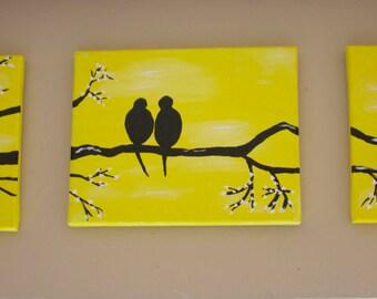 Set of 3 Love Birds Silhouette Wall Art