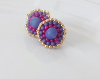 Beaded Stud Earrings. Purple Pink and Gold seed bead stud earrings, unique stud earrings