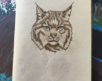 Refillable Leather Journal with Burned Bobcat Design