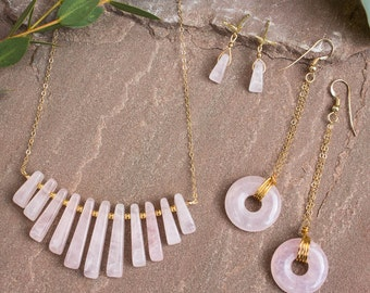 Rose Quartz Halo Necklace