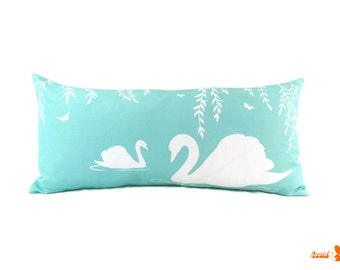 White and Robin Blue Swan in the Swamp Rectangle Linen Pillow