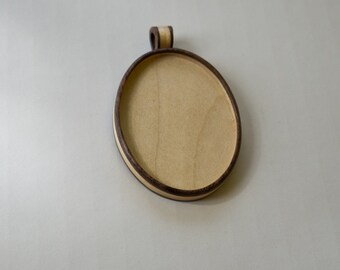 Large pendant blank fine craftsmanship hardwood - Walnut and Maple - 36 x 46 mm - Oval - (A1-WMp)