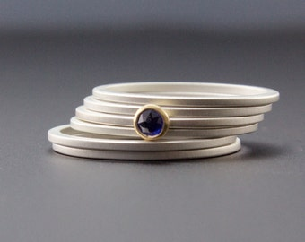 Blue Sapphire Stacking Ring Set of Six - Bezel Set Rose Cut Gemstone in 18 Karat Yellow Gold - Matte Finish Skinny Bands  - Size 5 6 7 8 9