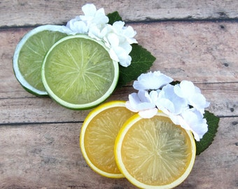 Lime Blosson Fascinator, Lime Slices Hair Clip, Fruit Hair Clip, Retro hair