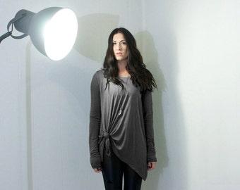 Women's Top • Asymmetric Raw Hem •  Long Sleeve Shirt • Oversized Blouse • Tunic Boho Tops • Clothing (No. 747)