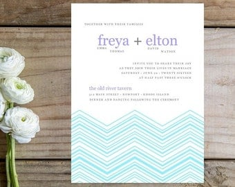 Chevron Wedding Invitation - Modern Wedding Invitations, Chevron, Blue Invitation