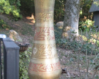 Vintage Etched Brass Vase - Tall Brass Vase - Red and White Floral Stripes