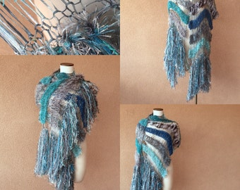 Teal Shawl Aqua Scarf Ocean Seafoam Turquoise Grey Black White Charcoal Hand Knit Striped Fringe Shawl Wrap Cape