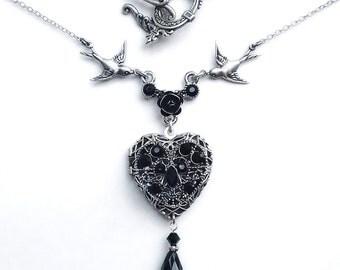 Personalized locket Gothic Black Heart Locket Necklace Black Swarovski necklace monogram jewelry custom name gothic jewelry