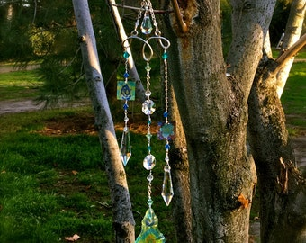 Crystal Suncatcher with Decoupaged Prisms | Handcrafted Wire Wrapped Suncatcher | Feng Shui Gift | Window Decor
