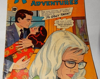 1959 True Love Confessions, Romantic Adventures Romance Comic Book, The Ugly Twin, Scandal, Deception, Leather Covered Love! Beauty