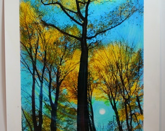 Bluer sky,14x20 inches, Original mixed media photograph with painting and drawing added, #Fall decor #Autumn trees #Autumn moon #tree art