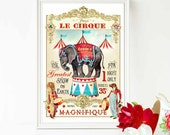 Circus Elephant print, nursery decor, Elephant, nursery wall art, anthropomorphic, lion, bear, circus tent, French vintage, clown, red, blue