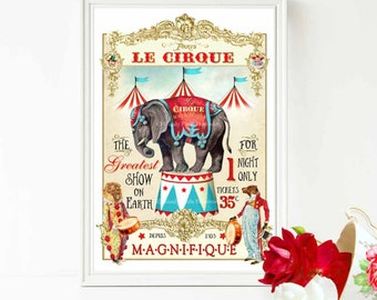 French circus elephant print, vintage style nursery decor with anthropomorphic, lion and bear, A4 giclee