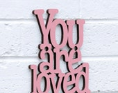 You Are Loved Sign, Gift Under 20, Wood Wedding Sign, Romantic Sign, Newlywed Sign, Funky Wood Sign, Wood Sign Decor, Wood Word Sign