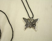 Small Butterfly Pendant with a Dainty Black Ball Chain Necklace