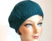 Knit Beret in Teal Alpaca Wool - Hand Knitted Wool Beret - Made to Order - READY TO SHIP via 3 Day Priority