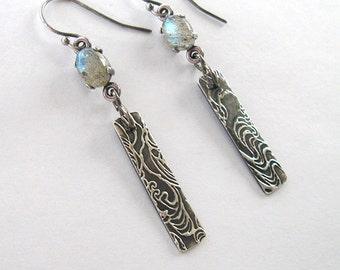 Labradorite Earrings, 7x5mm Cabochons, Eco Friendly Fine Silver Ocean Wave Surf Dangles, Labradorite Gemstone Linear Earrings