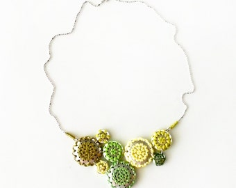 Hex Sign - NECKLACE - Pennsylvania Dutch, embroidered jewelry, barnstar, geometric jewelry, folk art necklace - green, moss, lichen